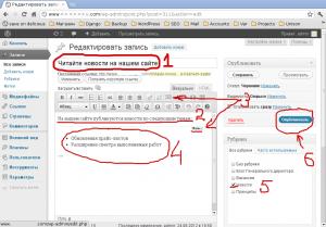 Редактирование записи WordPress
